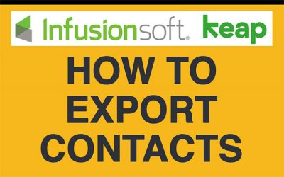 InfusionSoft Basics: How to Export Contacts
